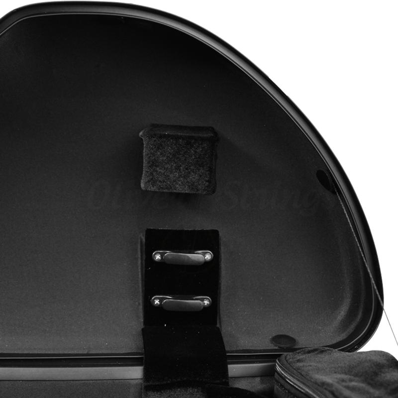 Estojo térmico meia lua para viola em fibra de carbono preto (exterior) e preto (interior)