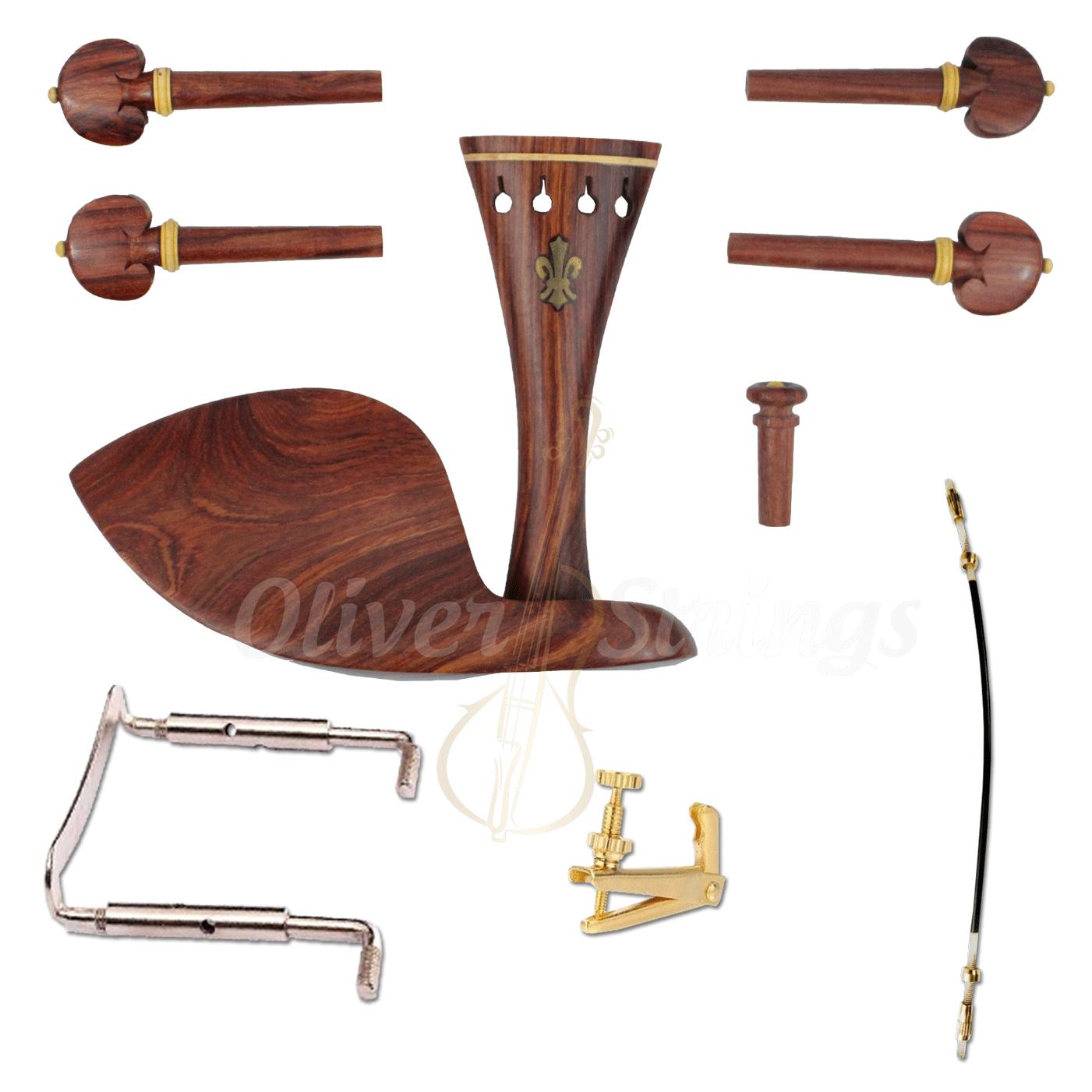 Kit De Montagem Para Violino 4/4 Rosewood Completo Flor de Lis