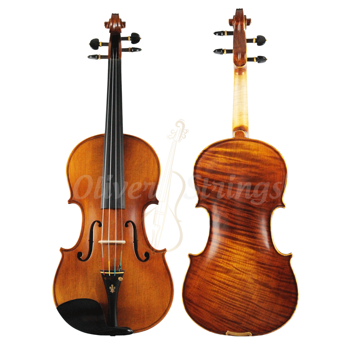 Violino feito à mão modelo strad 4/4 fundo inteiro