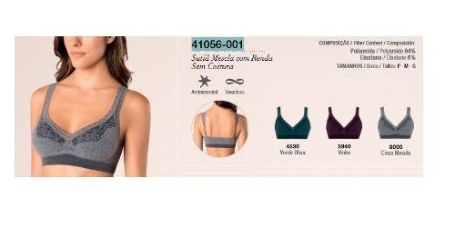 Sutiã Mescla Com Renda Loba Sem Costura Trend Lupo 41056-001.