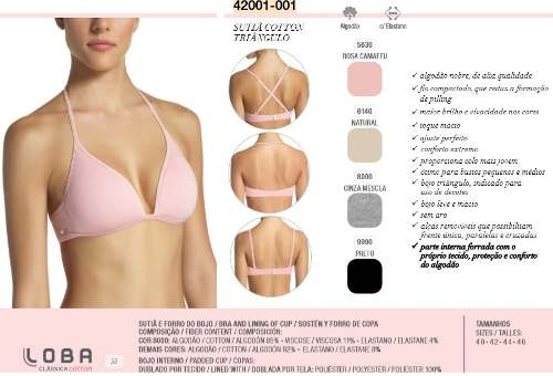 Sutiã Cotton Triângulo Algodão Clássica Loba Lupo 42001-001