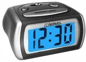 Relógio Despertador Digital Luz Noturna Led Azul Herweg 2916