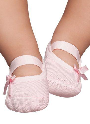 Meia Sapatilha Bebê Lacinho Rosa Menina Puket 6926
