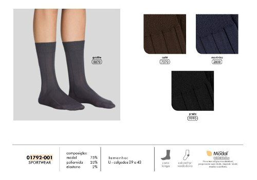 1 Par De Meias Modal Sportwear Lupo Cano Longo 1792-001