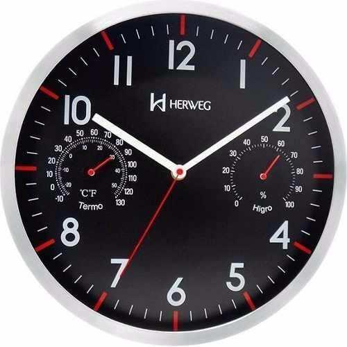 Relógio Parede 31 Cm Termômetro E Higrômetro Herweg 6397