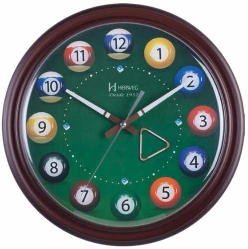 Relógio De Parede Bilhar Sinuca Temático Herweg 6469