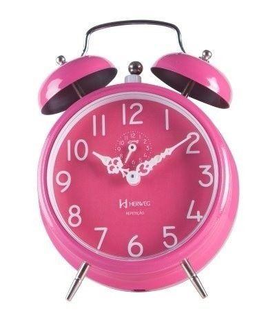 Relógio Vintage Despertador Pink Retro A Corda Herweg 2383