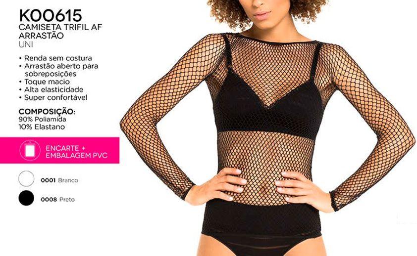 Blusa Arrastão Fashion Trifil Segunda Pele Sem Costura 615