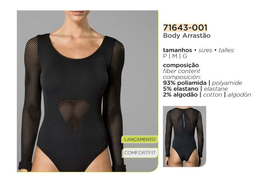 Body Arrastão Fashion Lupo Sport Com Elastano 71643-001