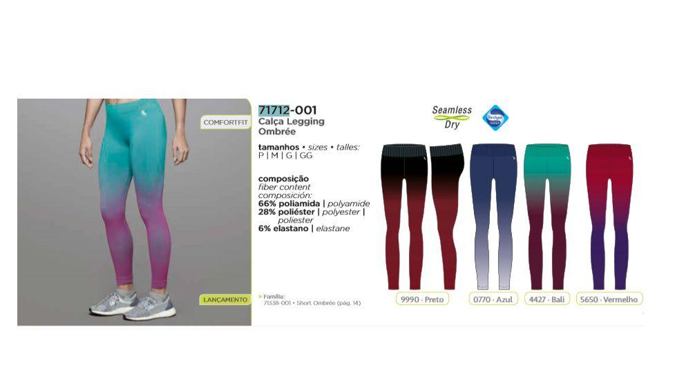 Calça Legging Ombrée Lupo Sport Sem Costura Frescor 71712-001