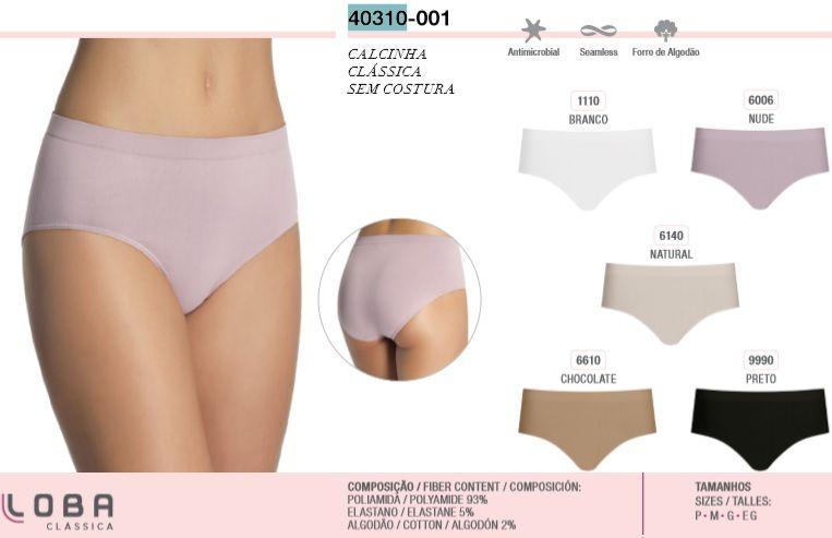 Calcinha Clássica Loba Sem Costura Cós Alto Lupo 40310-001