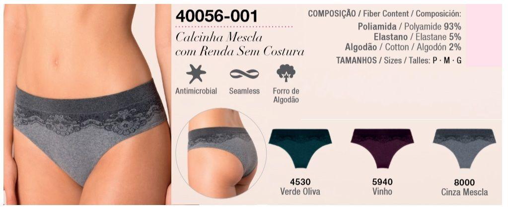 Calcinha Loba Mescla Renda Sem Costura Lupo Trend 40056-001