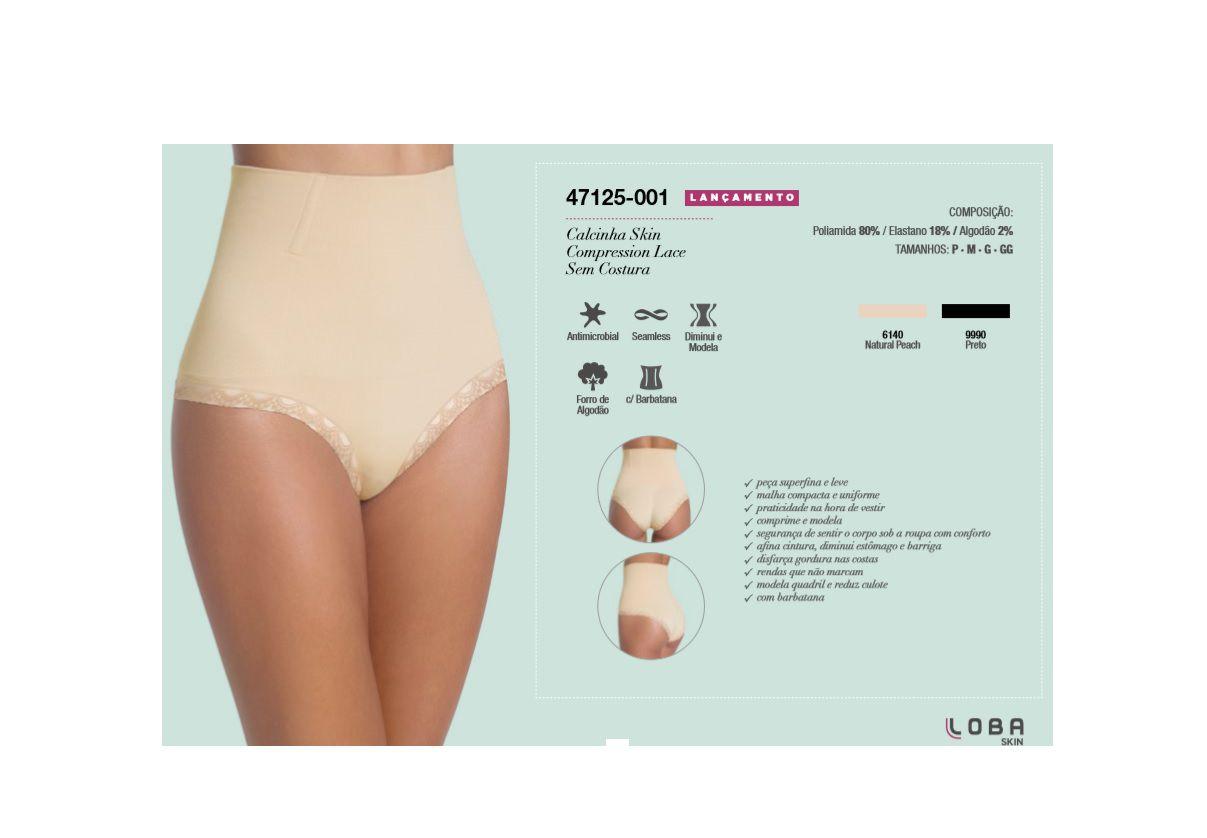 Calcinha Skin Compression Loba Renda Lupo Com Barbatana Haste Não Enrola Modeladora Compressão 47125-001