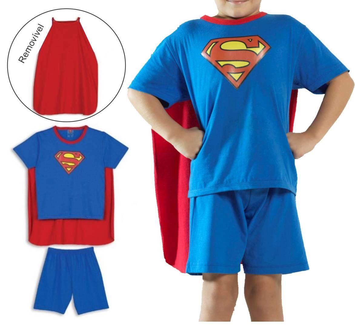 Fantasia Pijama Infantil Com Capa Lupo Super Homem Superman 23066-001