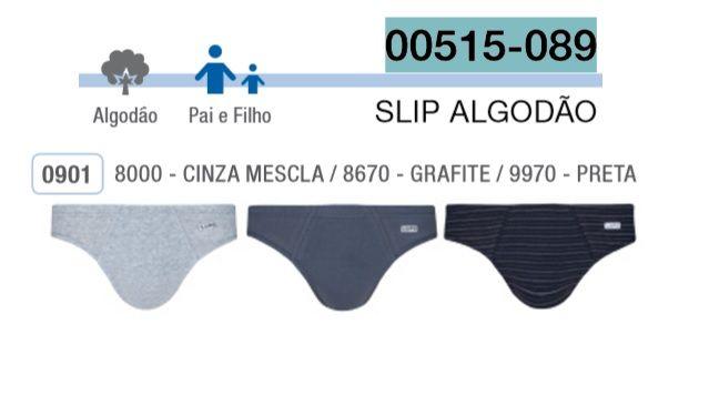 Kit 3 Cuecas Algodão Slip Lupo 515-089