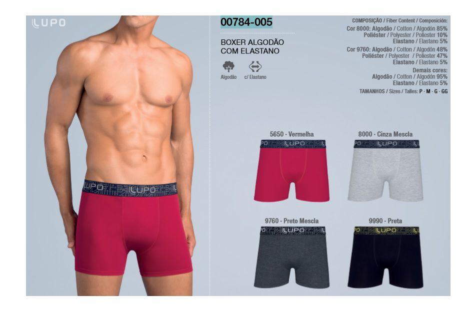 Kit 3 Cuecas Boxer Lupo Algodão Malha Com Elastano 784-005