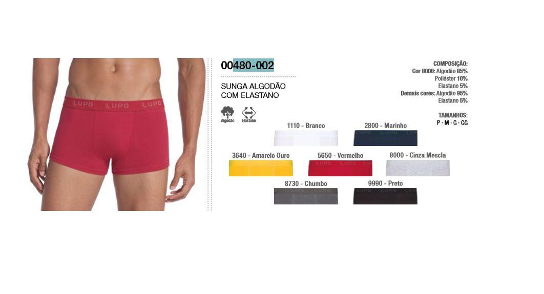 Kit 3 Cuecas Sunga Algodão Cotton Com Elastano Lupo 480-002