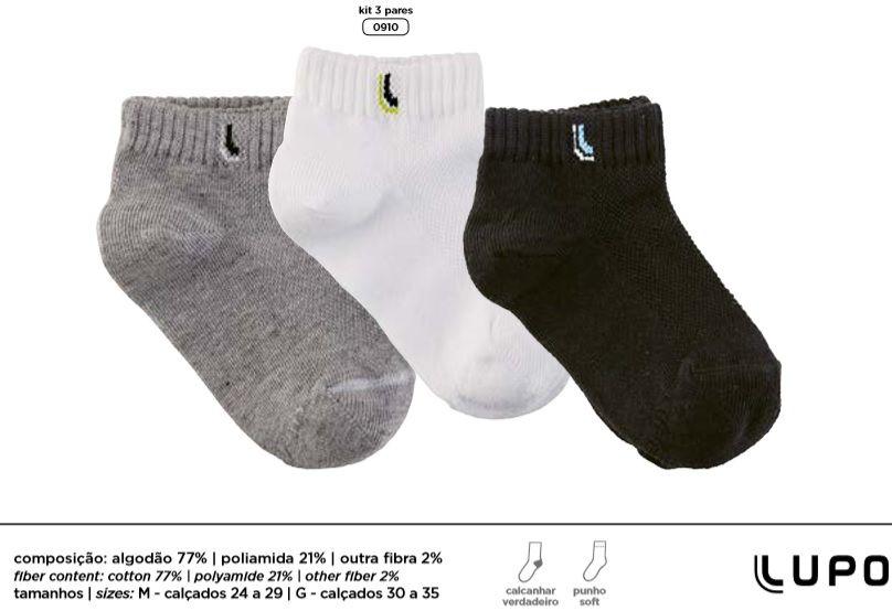Kit 3 Meia Lupo Kids Cano Curto Infantil  2725-089