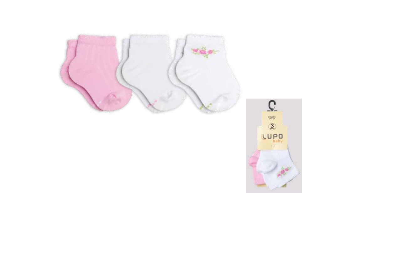 Kit 3 Meias Baby Lupo Recém Nascido Bebê Menina 2000-989