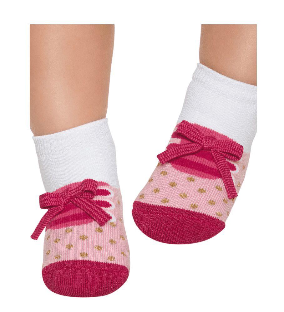 Kit 3 Meias Puket Baby Tênis Antiderrapante Rosa Aroma 7036
