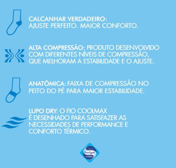 Kit 3 Pares Meia Esportes Corrida Lupo Coolmax Dry 15671-001