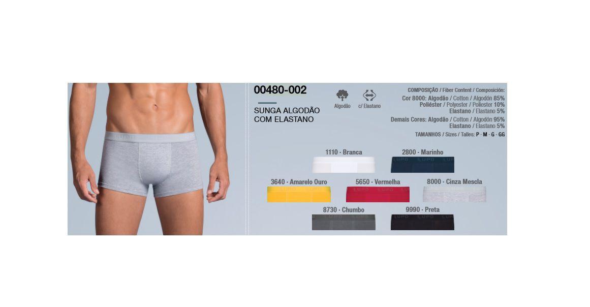 Kit 8 Cuecas Sunga Cotton Com Elastano Lupo Algodão Super Promoção 480-002