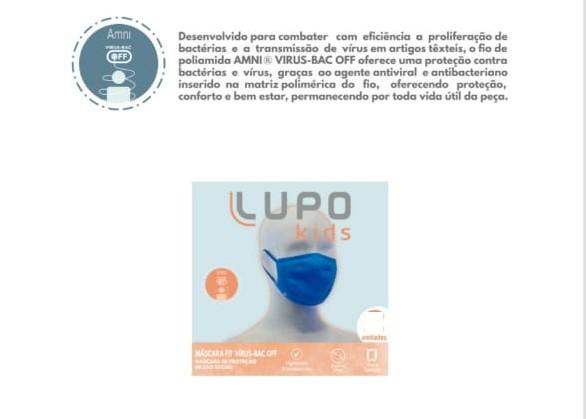 Kit com 4 Máscaras Infantil Lupo Fit Virus-bac Off Lavável 36001-900