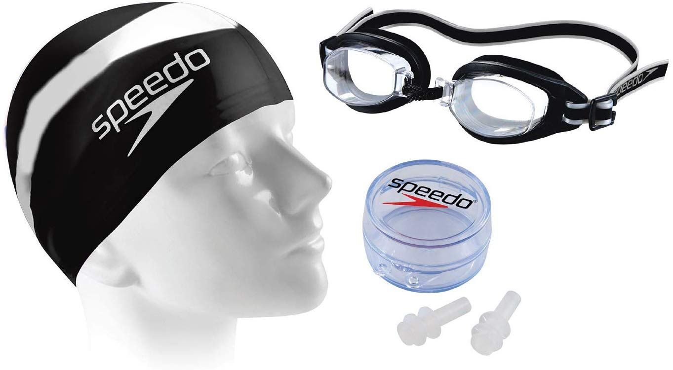 Kit Natação Óculos Touca Protetor de ouvido Speedo Swim Kit Jr 2.0 Infantil