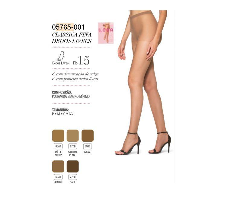 Meia Calça Dedos Livres Fio 15 Loba Lupo Clássica 5765-001