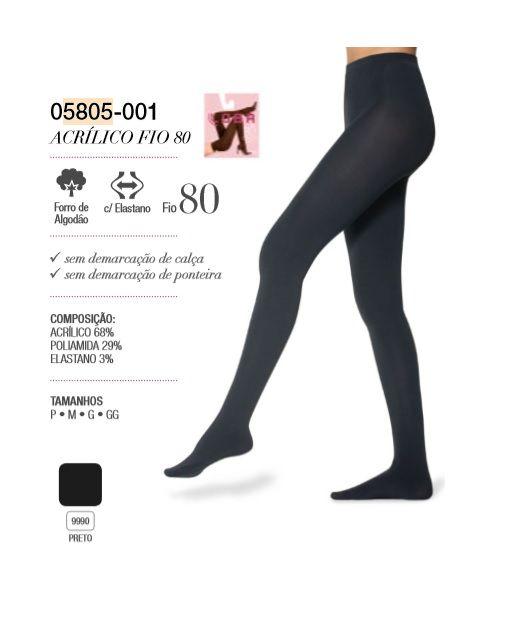 Meia Calça Opaca Acrílico Fio 80 Lupo 5805-001