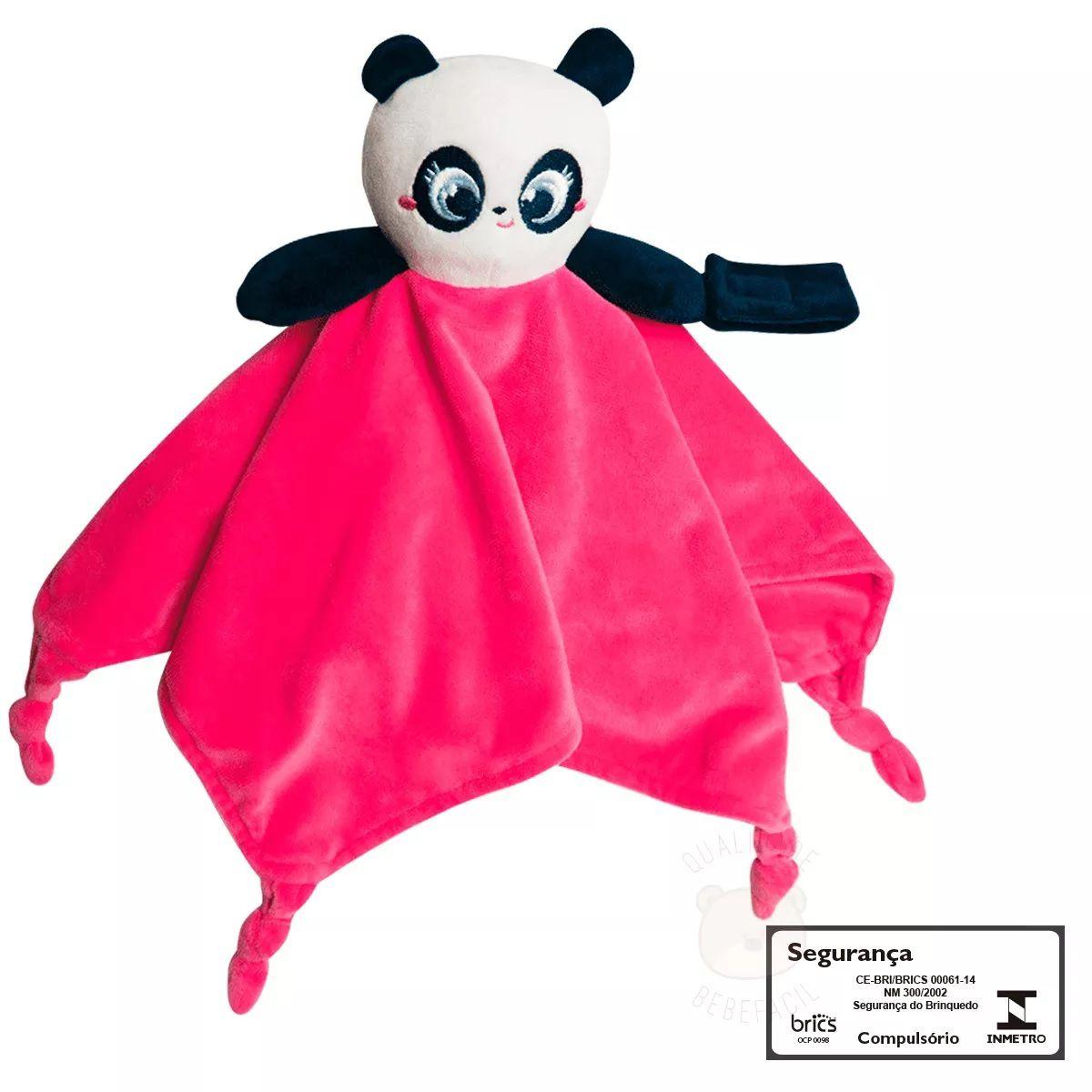 Naninha Puket Chocalho Menina Bebê Panda Plush Rosa 69949