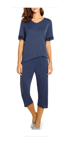Pijama Capri C/ Renda Feminino Poliamida Elastano Lupo 24297-001
