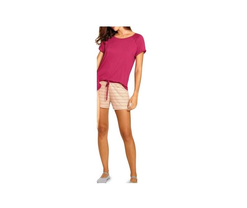 Pijama Feminino Short Doll Listrado Linho Viscose Lupo 24326-001