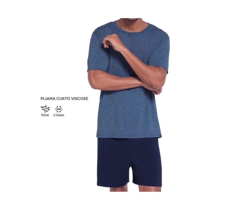 Pijama Manga Curta Short Clássico Viscose Lupo 28133-001.