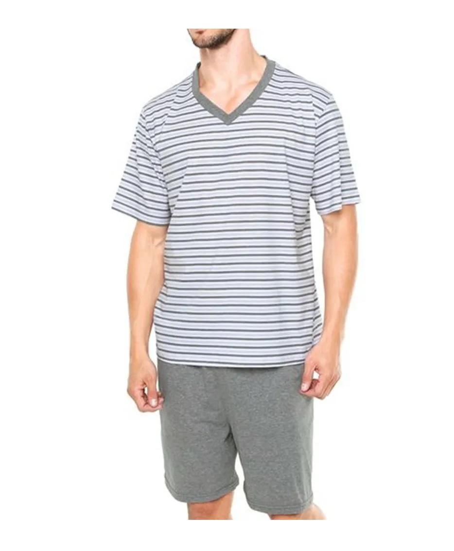 Pijama Masculino Gola V Listrado Curto Algodão Lupo 28021-001