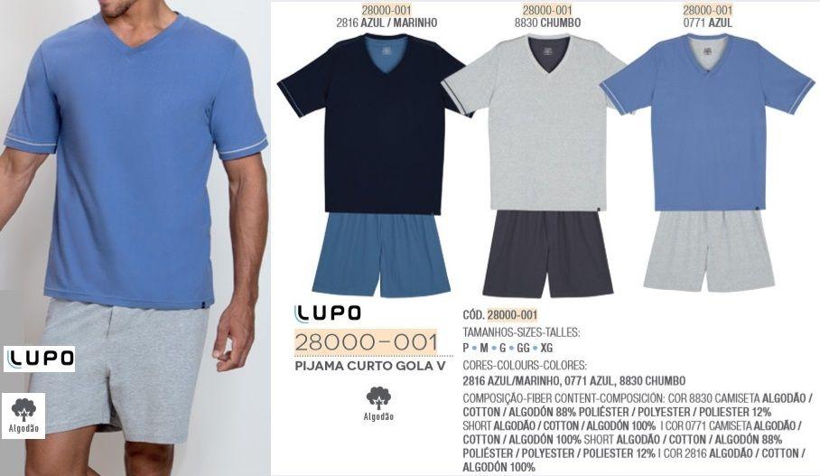 Pijama Masculino Manga Curta Lupo 100% Malha Algodão 28000-001