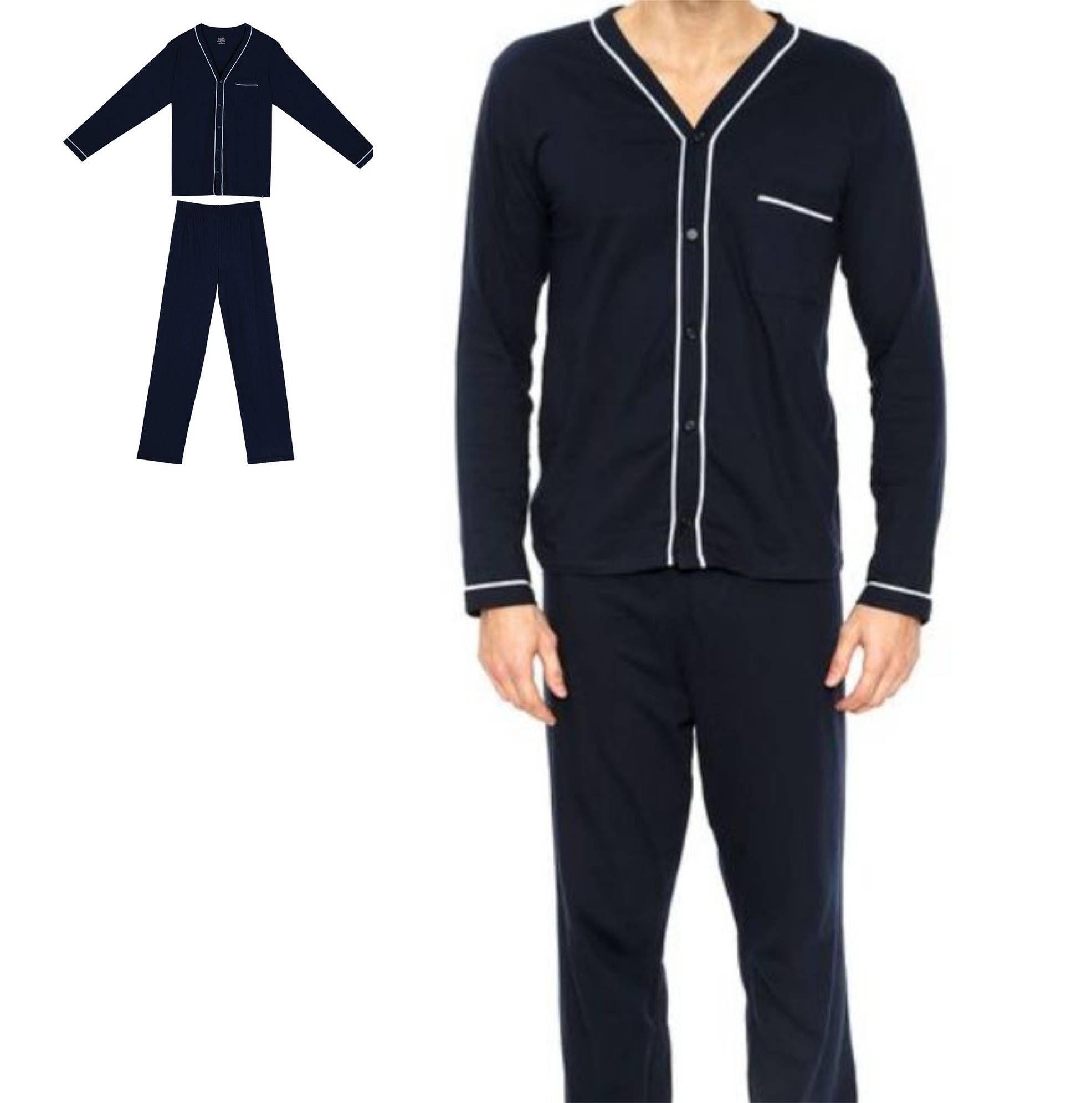 Pijama Masculino Manga Longa Lupo 100% Malha Algodão 28048-002