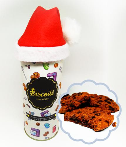 Lata Cookie de Chocolate com Touca Natalina - 200g