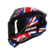 Capacete Axxis Draken UK Inglaterra Preto/Vermelho/Azul