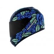 Capacete Feminino Norisk FF391 Stunt Bed Of Roses Preto Fosco/Azul
