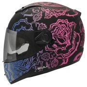 Capacete Peels Feminino Icon Sweet Skull Preto Fosco/Colorido Com Viseira Interna