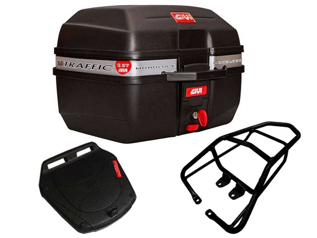 Baú E27 + bagageiro GIVI CG Titan 150/ CG 125 FAN 2009 a 2013  - Manolo Motos