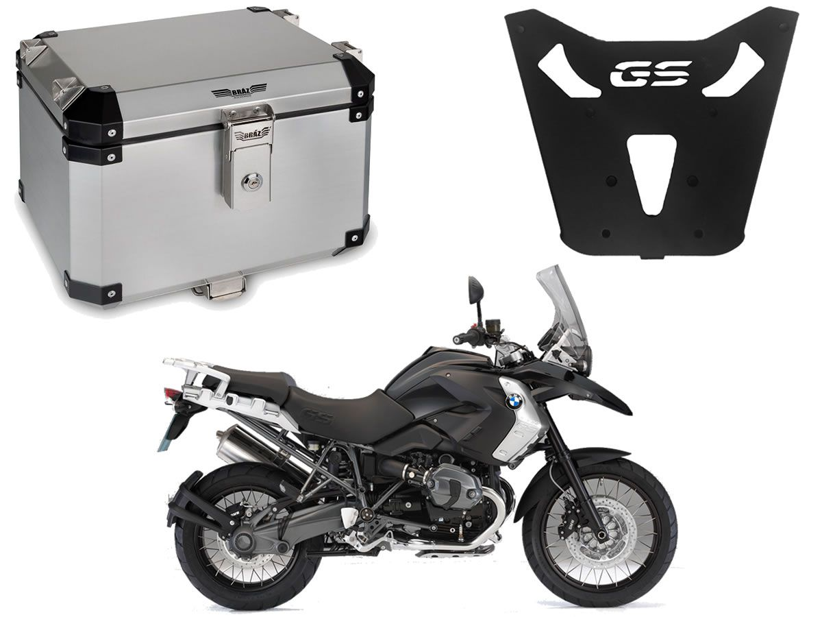 Bauleto Central Bráz Atacama 43L Escovado + Base R 1200 GS 2013 a 2019  - Manolo Motos