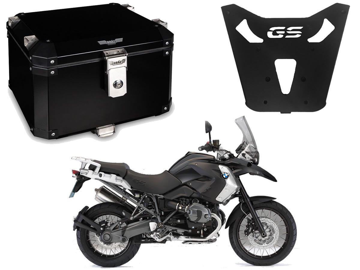 Bauleto Central Braz Atacama 43L Preto + Base R 1200 GS 2013 a 2019  - Manolo Motos
