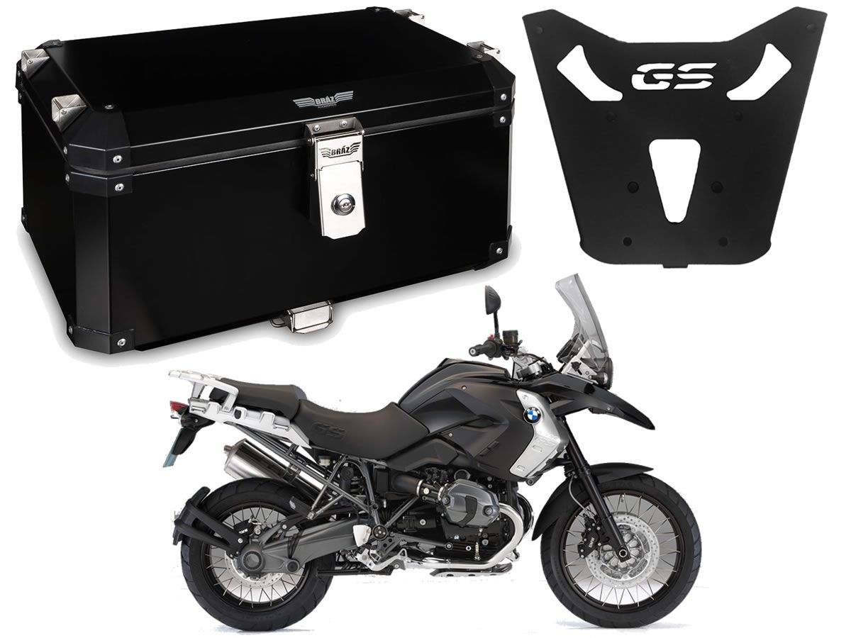 Bauleto Central Braz Atacama 55L Preto + Base R 1200 GS 2013 a 2019  - Manolo Motos