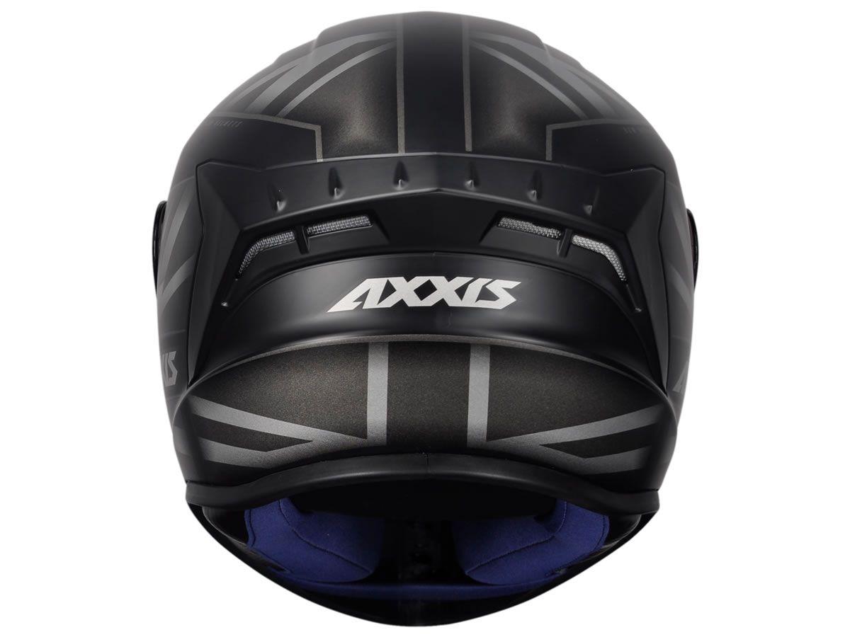Capacete Axxis Draken UK Inglaterra Preto/Cinza Fosco  - Manolo Motos