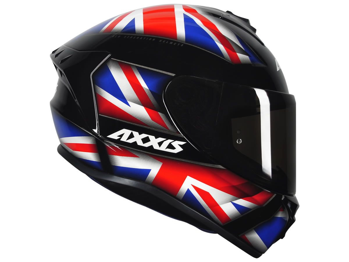 Capacete Axxis Draken UK Inglaterra Preto/Vermelho/Azul  - Manolo Motos