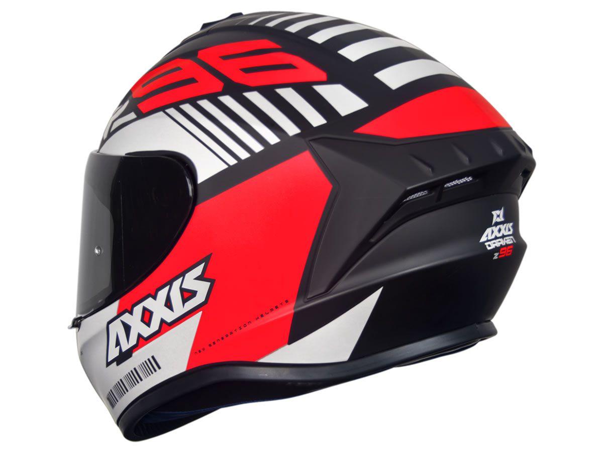 Capacete Axxis Draken Z96 Preto Fosco/Vermelho/Branco  - Manolo Motos