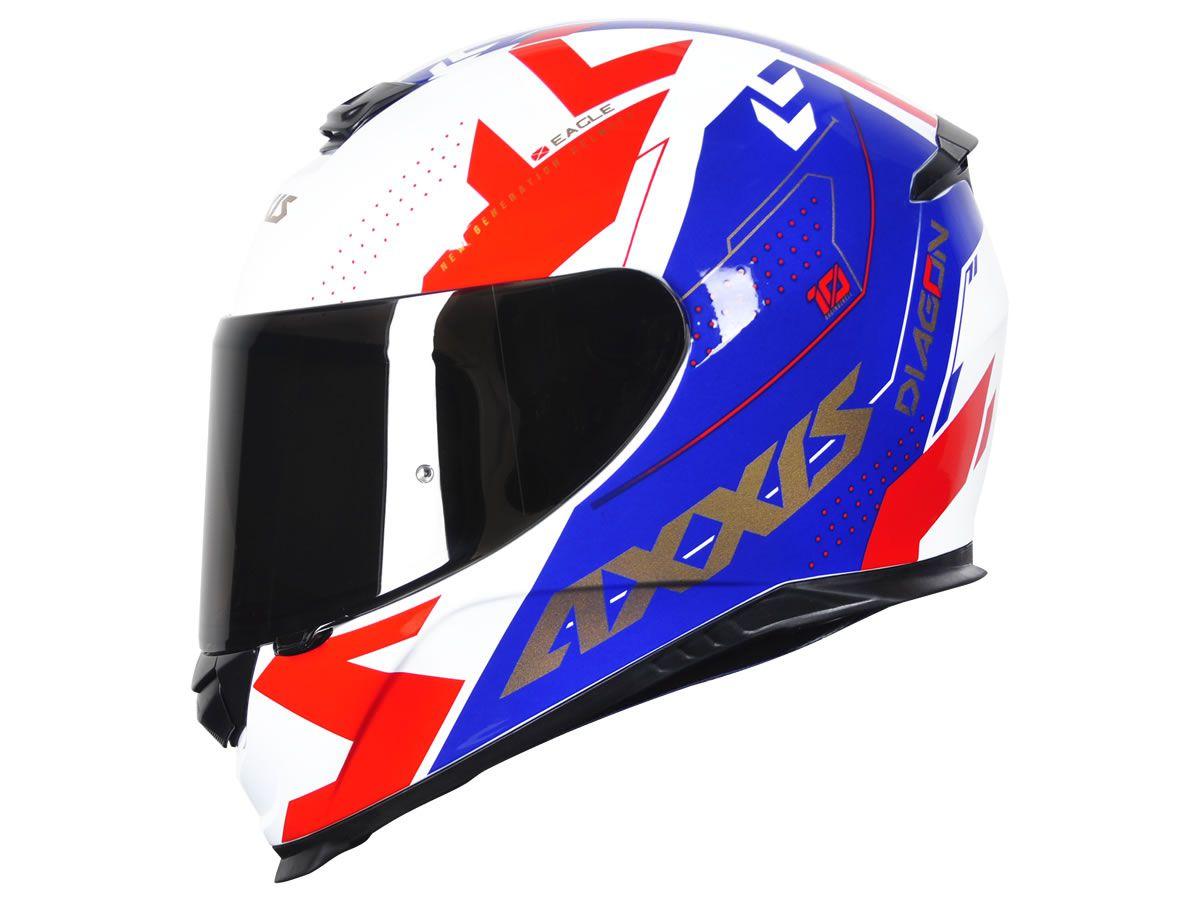 Capacete Axxis Eagle Diagon Branco/Azul/Vermelho  - Manolo Motos