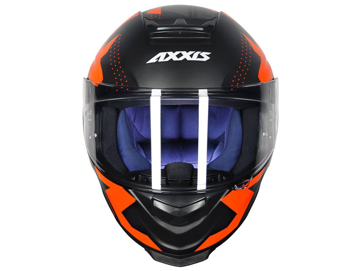 Capacete Axxis Eagle Diagon Preto/Laranja Fosco  - Manolo Motos